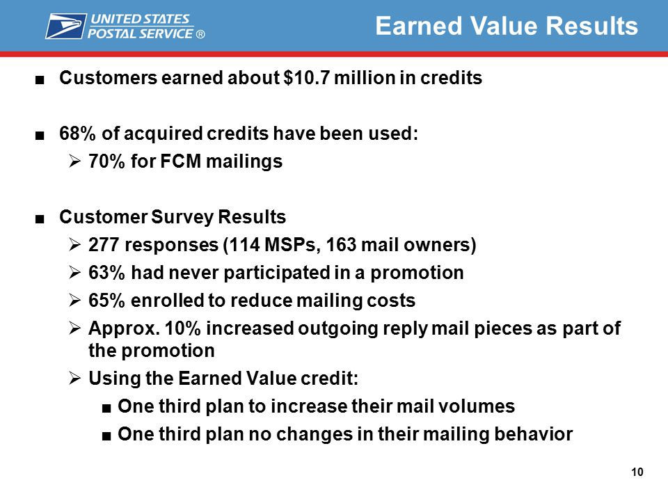 Earned Value Results ■Customers earned about $10.7 million in credits ■68% of acquired credits have been used:  70% for FCM mailings ■Customer Survey