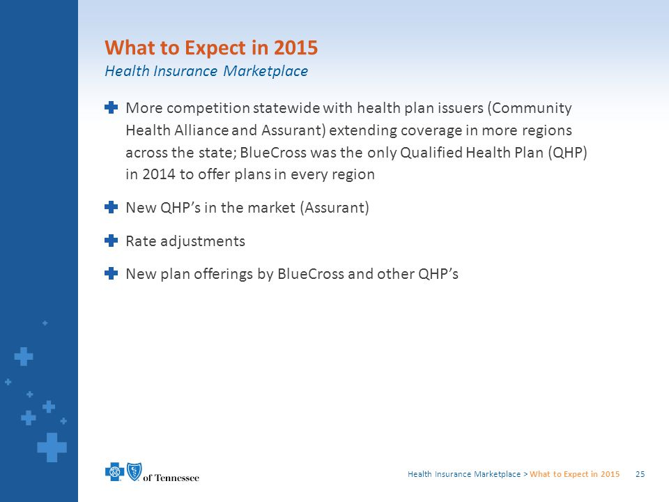 Health Insurance Marketplace > What to Expect in 2015 More competition statewide with health plan issuers (Community Health Alliance and Assurant) extending coverage in more regions across the state; BlueCross was the only Qualified Health Plan (QHP) in 2014 to offer plans in every region New QHP's in the market (Assurant) Rate adjustments New plan offerings by BlueCross and other QHP's 25 What to Expect in 2015 Health Insurance Marketplace