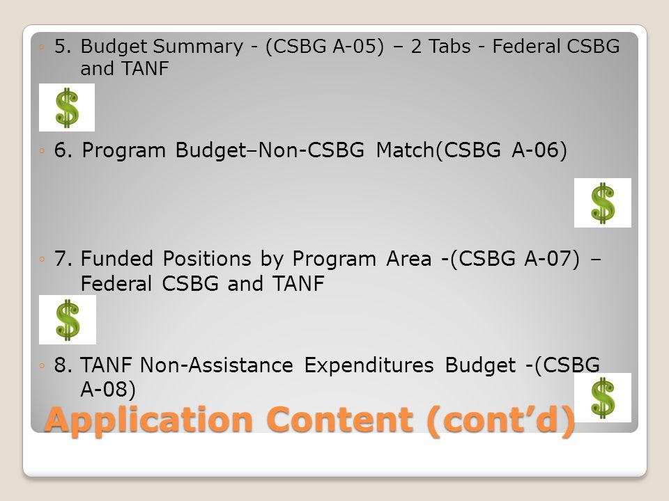 Application Contents (cont'd) ◦ 9.TANF Budget Documentation Worksheet - (CSBG A-09) ◦ 10.