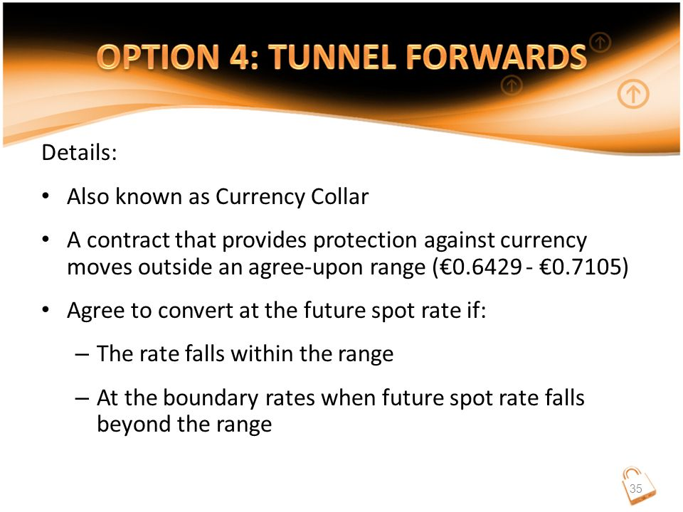 Details: Also known as Currency Collar A contract that provides protection against currency moves outside an agree-upon range (€0.6429 - €0.7105) Agree to convert at the future spot rate if: – The rate falls within the range – At the boundary rates when future spot rate falls beyond the range 35