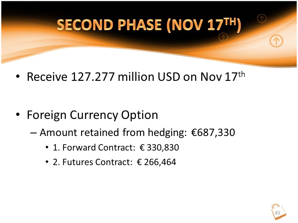 Receive 127.277 million USD on Nov 17 th Foreign Currency Option – Amount retained from hedging: €687,330 1.