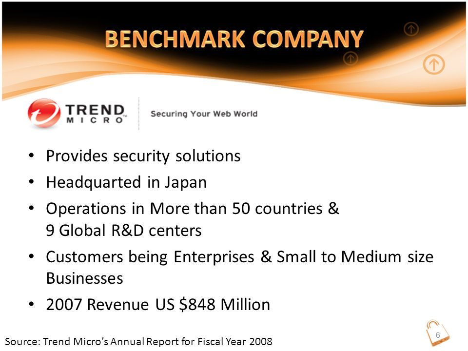 Provides security solutions Headquarted in Japan Operations in More than 50 countries & 9 Global R&D centers Customers being Enterprises & Small to Medium size Businesses 2007 Revenue US $848 Million Source: Trend Micro's Annual Report for Fiscal Year 2008 6