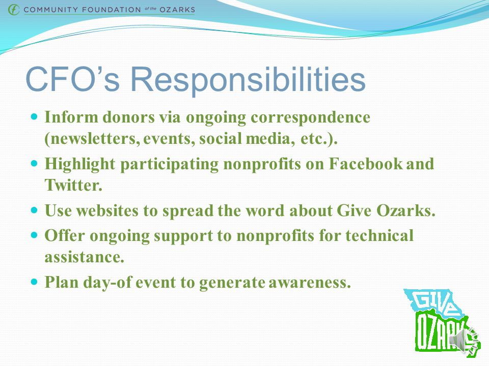 CFO's Responsibilities Seek partners for grants and prizes.