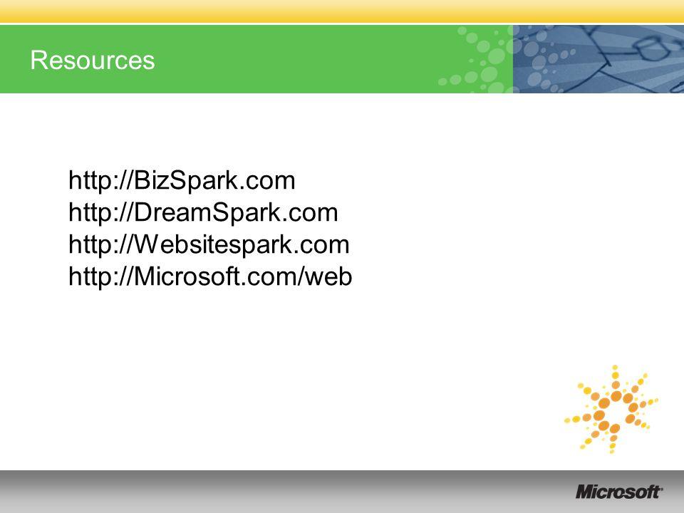 Resources http://BizSpark.com http://DreamSpark.com http://Websitespark.com http://Microsoft.com/web