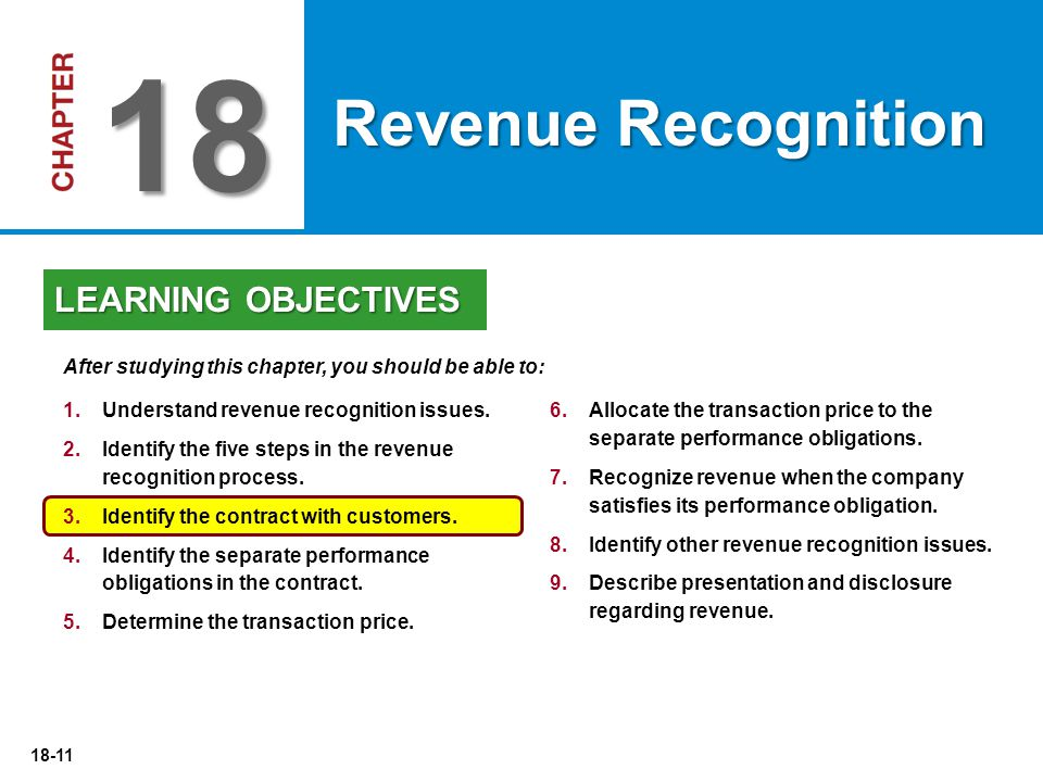 18-11 6.Allocate the transaction price to the separate performance obligations. 7.Recognize revenue when the company satisfies its performance obligat