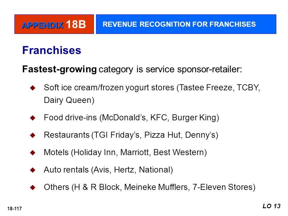 18-117 Fastest-growing category is service sponsor-retailer:  Soft ice cream/frozen yogurt stores (Tastee Freeze, TCBY, Dairy Queen)  Food drive-ins