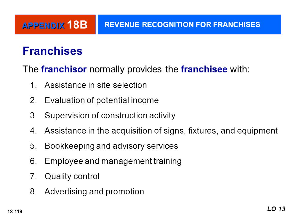 18-119 The franchisor normally provides the franchisee with: 1.Assistance in site selection 2.Evaluation of potential income 3.Supervision of construc