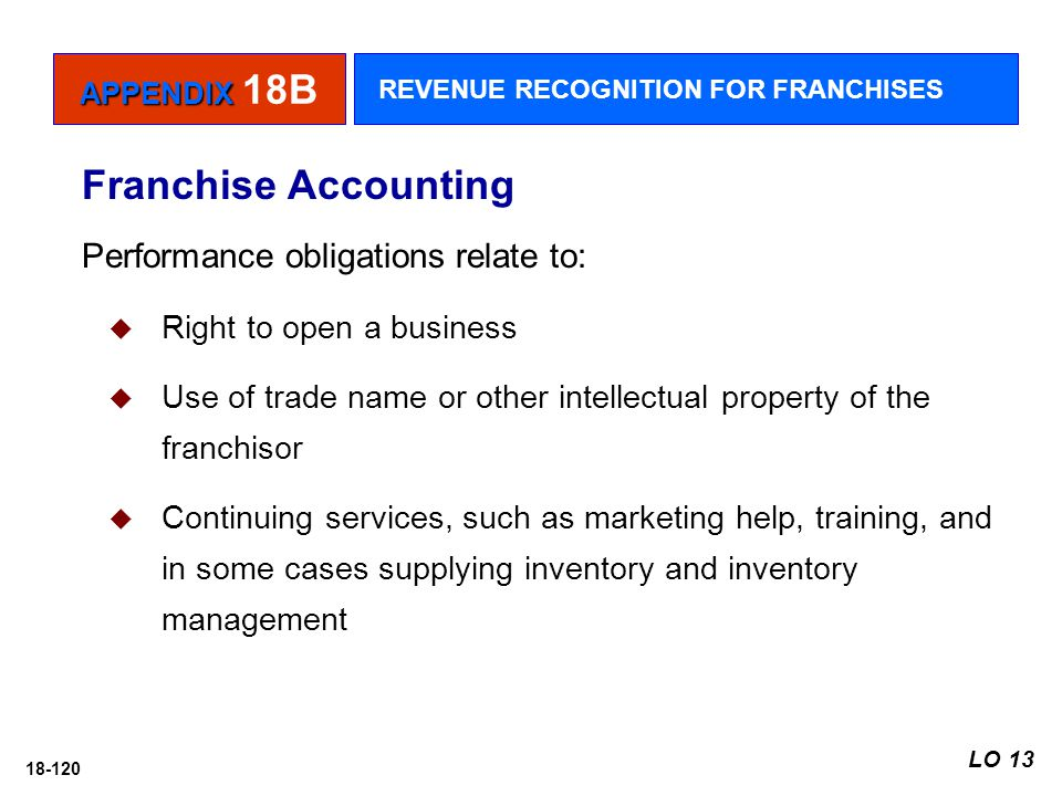 18-120 Performance obligations relate to:  Right to open a business  Use of trade name or other intellectual property of the franchisor  Continuing