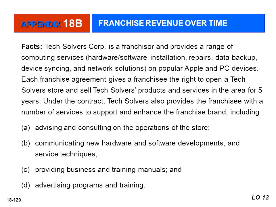 18-129 Facts: Tech Solvers Corp. is a franchisor and provides a range of computing services (hardware/software installation, repairs, data backup, dev