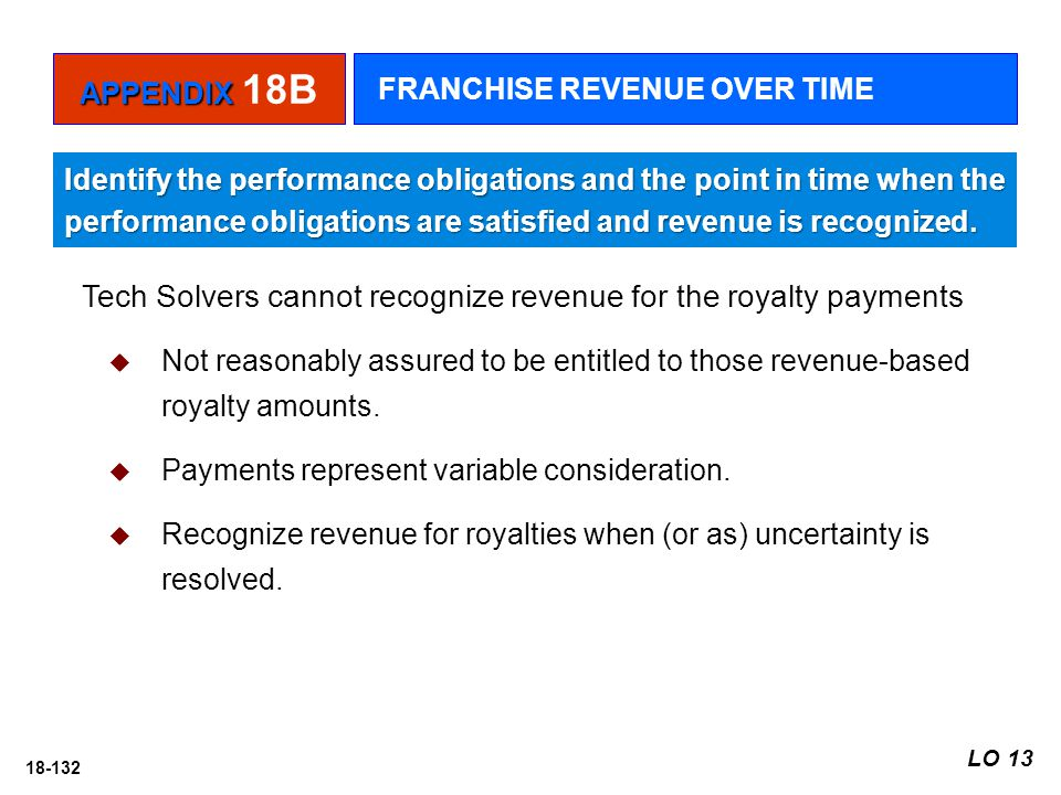 18-132 Tech Solvers cannot recognize revenue for the royalty payments  Not reasonably assured to be entitled to those revenue-based royalty amounts.