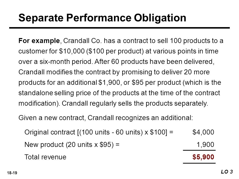 18-19 For example, Crandall Co. has a contract to sell 100 products to a customer for $10,000 ($100 per product) at various points in time over a six-