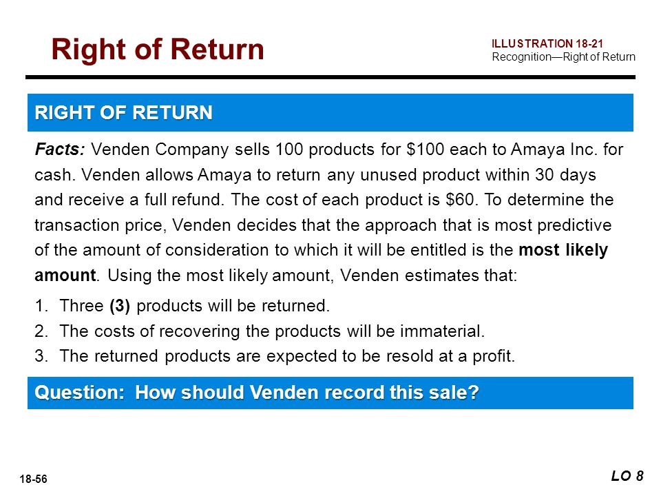 18-56 Facts: Venden Company sells 100 products for $100 each to Amaya Inc. for cash. Venden allows Amaya to return any unused product within 30 days a