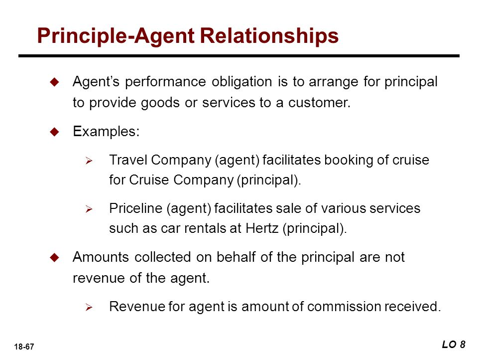 18-67 Principle-Agent Relationships LO 8  Agent's performance obligation is to arrange for principal to provide goods or services to a customer.  Ex