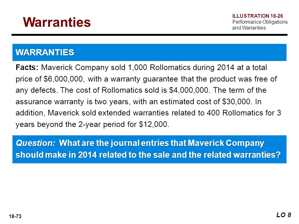 18-73 Facts: Maverick Company sold 1,000 Rollomatics during 2014 at a total price of $6,000,000, with a warranty guarantee that the product was free o