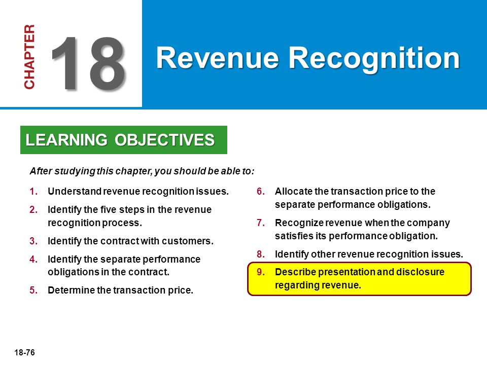18-76 6.Allocate the transaction price to the separate performance obligations. 7.Recognize revenue when the company satisfies its performance obligat