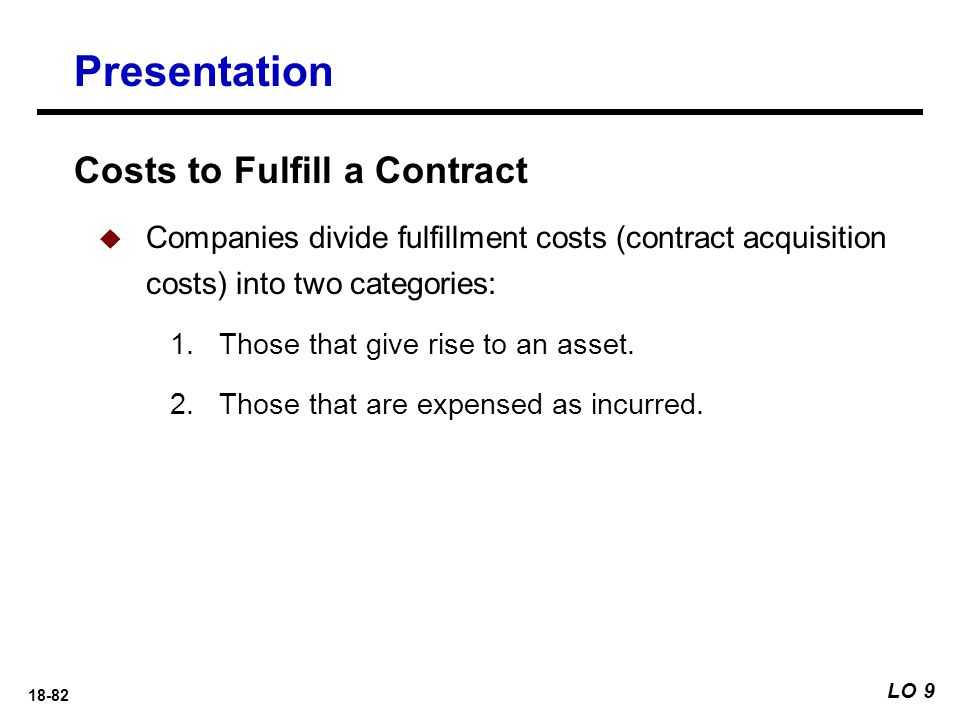 18-82 Presentation LO 9 Costs to Fulfill a Contract  Companies divide fulfillment costs (contract acquisition costs) into two categories: 1.Those tha