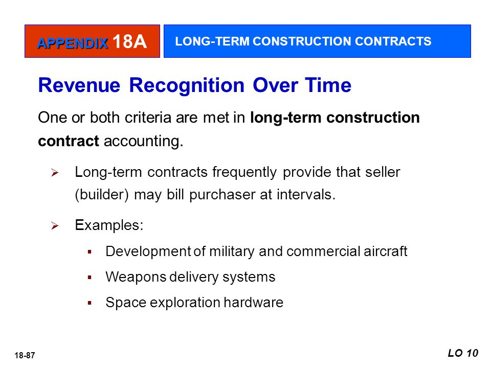18-87 Revenue Recognition Over Time One or both criteria are met in long-term construction contract accounting.  Long-term contracts frequently provi