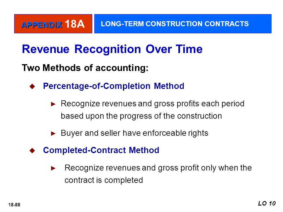 18-88 Revenue Recognition Over Time Two Methods of accounting:  Percentage-of-Completion Method ► Recognize revenues and gross profits each period ba