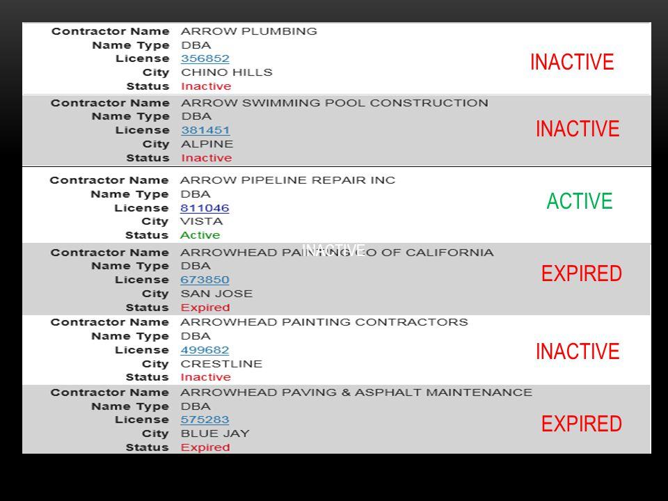 INACTIVE ACTIVE EXPIRED INACTIVE EXPIRED