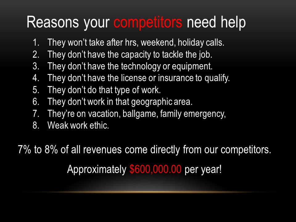 Reasons your competitors need help 1.They won't take after hrs, weekend, holiday calls.