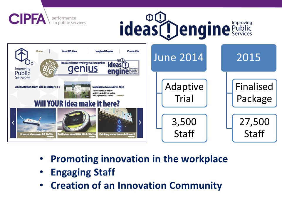 June 2014 Adaptive Trial 3,500 Staff 2015 Finalised Package 27,500 Staff Promoting innovation in the workplace Engaging Staff Creation of an Innovatio