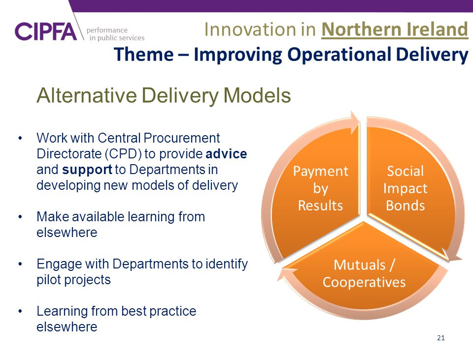21 Work with Central Procurement Directorate (CPD) to provide advice and support to Departments in developing new models of delivery Make available learning from elsewhere Engage with Departments to identify pilot projects Learning from best practice elsewhere Social Impact Bonds Mutuals / Cooperatives Payment by Results Alternative Delivery Models Innovation in Northern Ireland Theme – Improving Operational Delivery