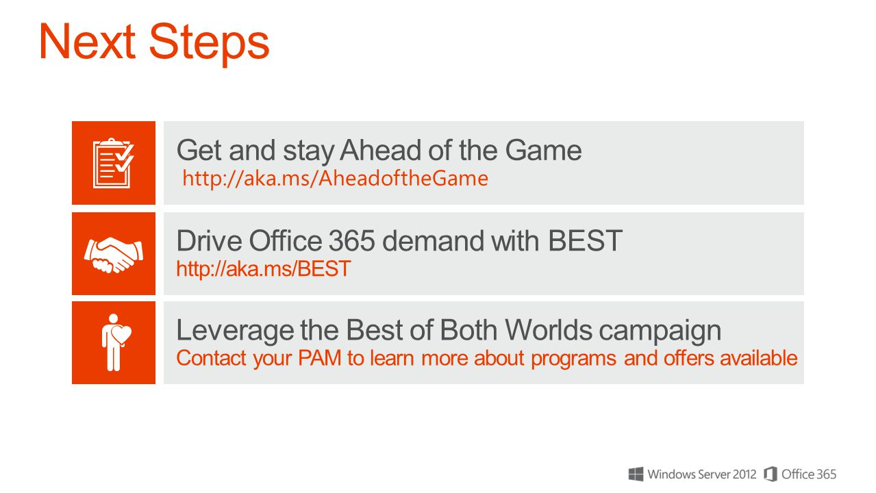 Drive Office 365 demand with BEST http://aka.ms/BEST Get and stay Ahead of the Game http://aka.ms/AheadoftheGame Leverage the Best of Both Worlds campaign Contact your PAM to learn more about programs and offers available