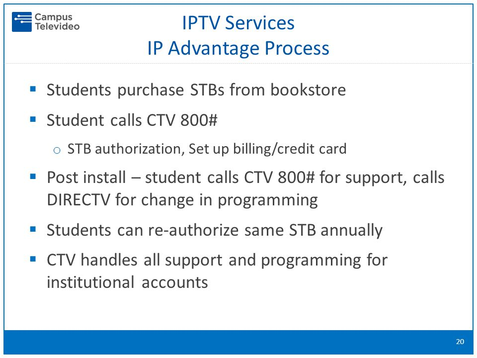IPTV Services IP Advantage Process  Students purchase STBs from bookstore  Student calls CTV 800# o STB authorization, Set up billing/credit card  Post install – student calls CTV 800# for support, calls DIRECTV for change in programming  Students can re-authorize same STB annually  CTV handles all support and programming for institutional accounts 20