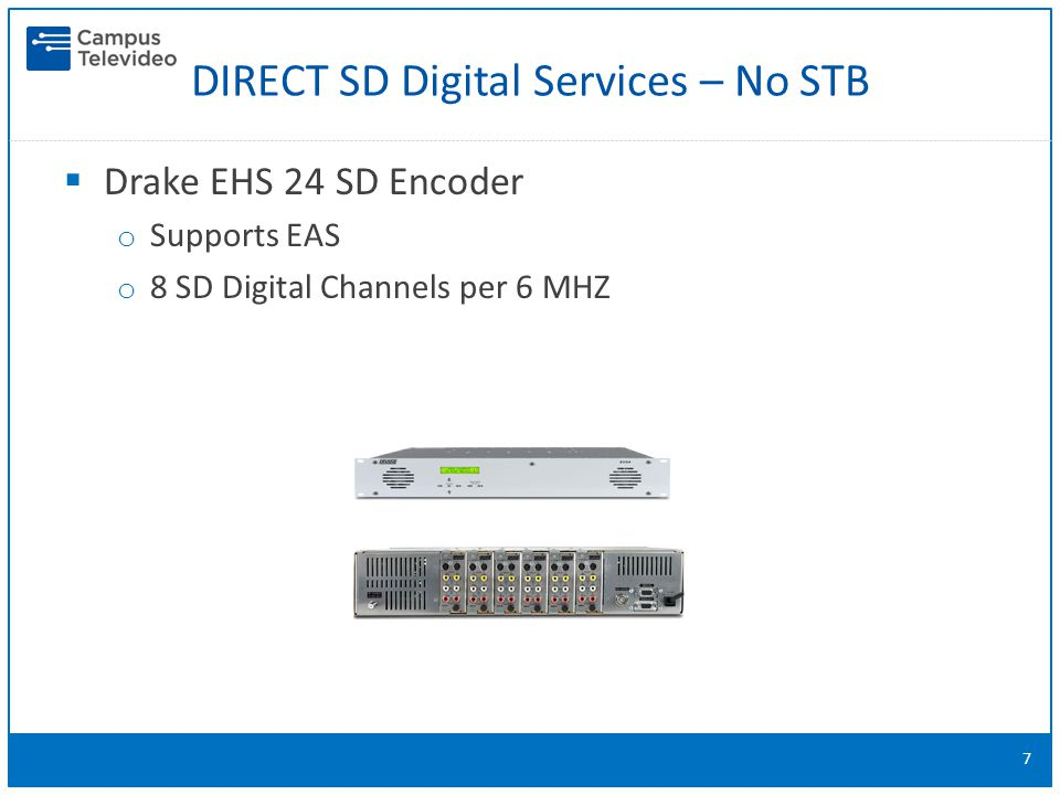  Drake EHS 24 SD Encoder o Supports EAS o 8 SD Digital Channels per 6 MHZ 7 DIRECT SD Digital Services – No STB