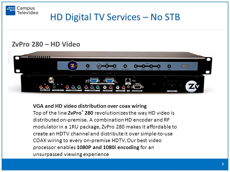 HD Digital TV Services – No STB 9 ZvPro 280 – HD Video Distribution VGA and HD video distribution over coax wiring Top of the line ZvPro ® 280 revolutionizes the way HD video is distributed on-premise.