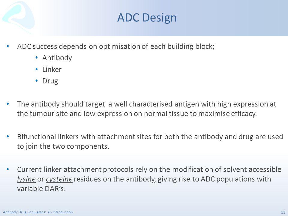 Antibody Drug Conjugates: An Introduction 11 ADC success depends on optimisation of each building block; Antibody Linker Drug The antibody should targ