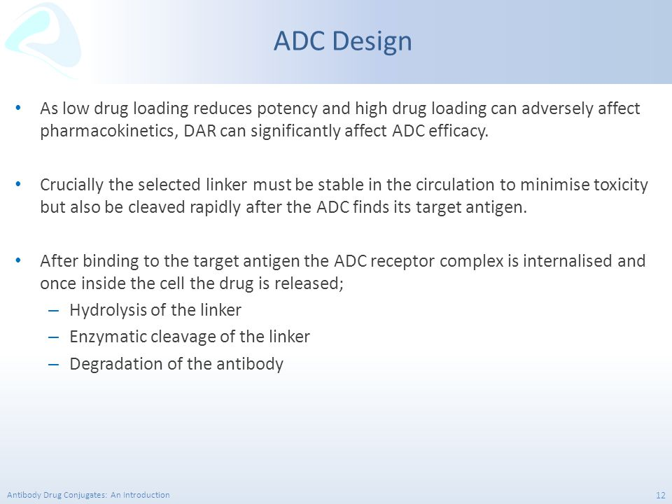 Antibody Drug Conjugates: An Introduction 12 As low drug loading reduces potency and high drug loading can adversely affect pharmacokinetics, DAR can