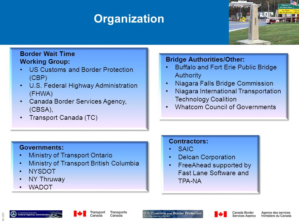 09-2857 Organization Border Wait Time Working Group: US Customs and Border Protection (CBP) U.S.