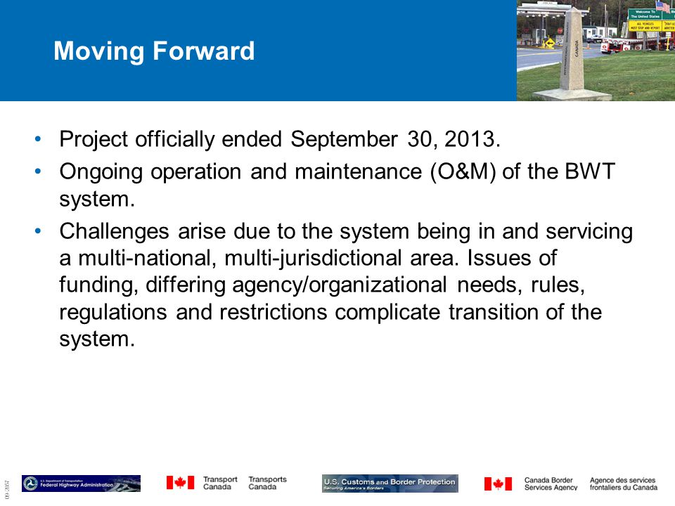 09-2857 Moving Forward 9 Project officially ended September 30, 2013.