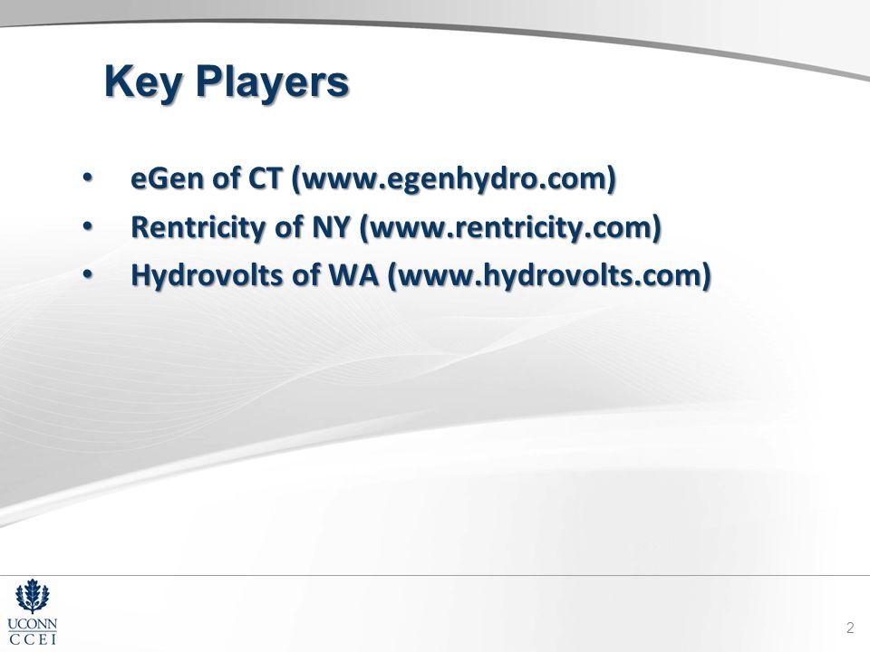 Key Players eGen of CT (www.egenhydro.com) eGen of CT (www.egenhydro.com) Rentricity of NY (www.rentricity.com) Rentricity of NY (www.rentricity.com) Hydrovolts of WA (www.hydrovolts.com) Hydrovolts of WA (www.hydrovolts.com) 2