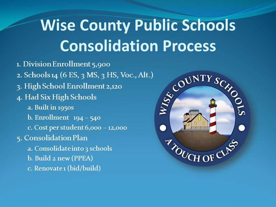 Wise County Public Schools Consolidation Process 1. Division Enrollment 5,900 2. Schools 14 (6 ES, 3 MS, 3 HS, Voc., Alt.) 3. High School Enrollment 2