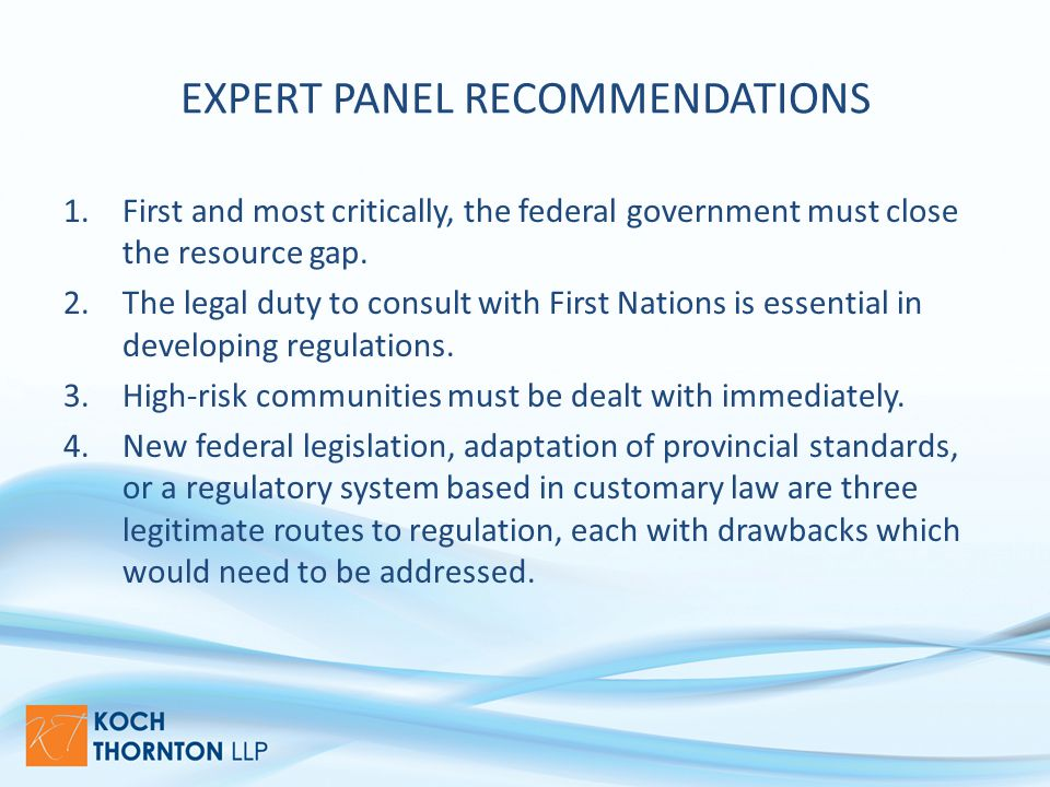 EXPERT PANEL RECOMMENDATIONS 1.First and most critically, the federal government must close the resource gap.