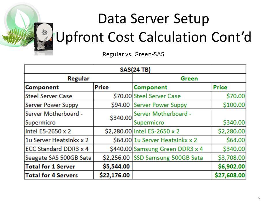 9 Data Server Setup Upfront Cost Calculation Cont'd Regular vs. Green-SAS