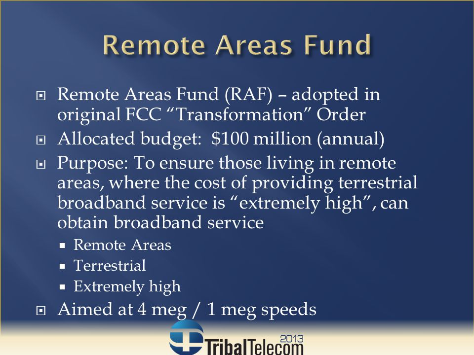  FCC Initial Proposal: A portable consumer subsidy  Each consumer receives a fixed amount  Used to cover upfront charges or for a discount on monthly service rates  Subsidy provided to companies, who pass it directly through to customers (like Lifeline)  One time - $200.