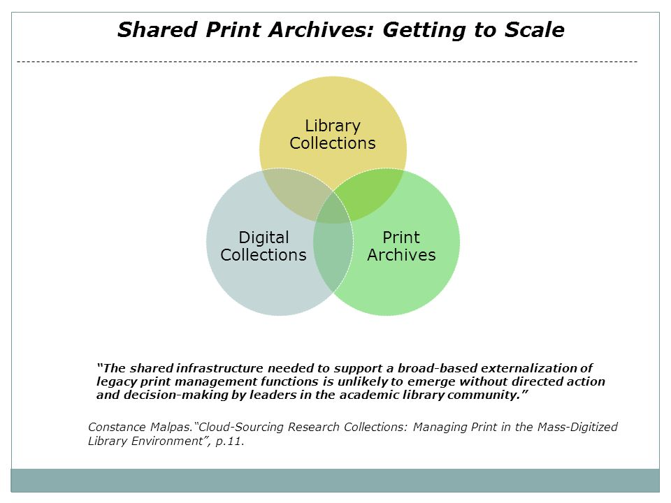 "Shared Print Archives: Getting to Scale Library Collections Print Archives Digital Collections ""The shared infrastructure needed to support a broad-ba"