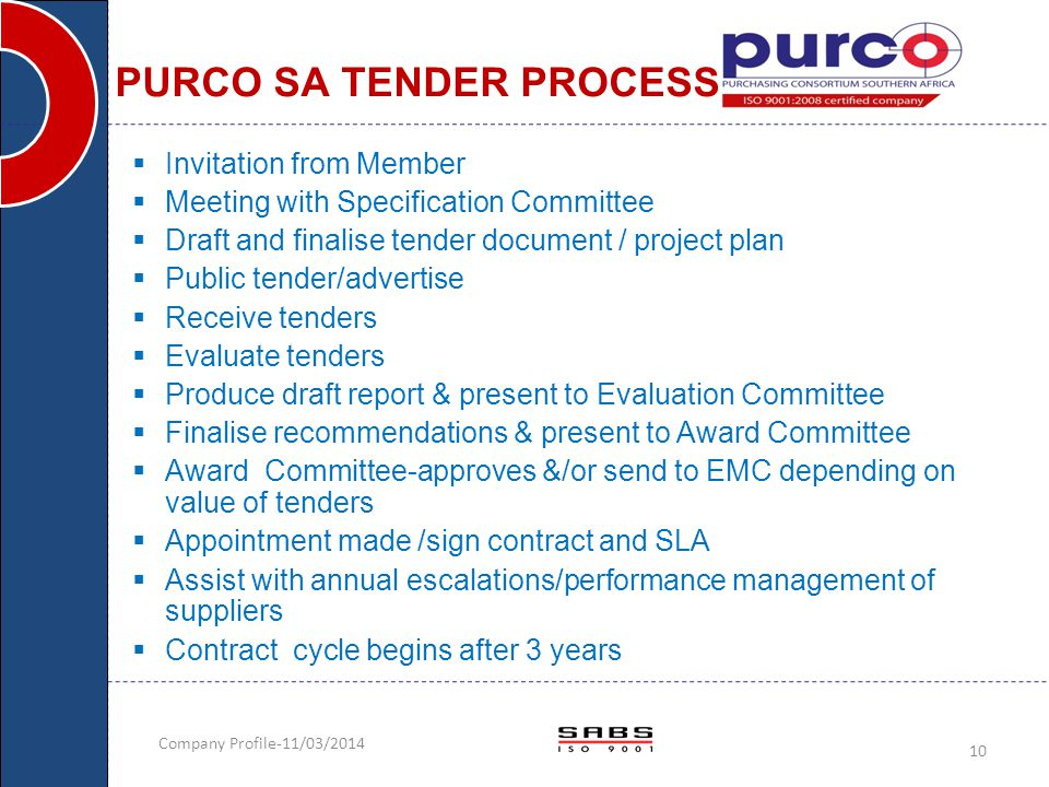 Company Profile-11/03/2014 10 PURCO SA TENDER PROCESS  Invitation from Member  Meeting with Specification Committee  Draft and finalise tender docu