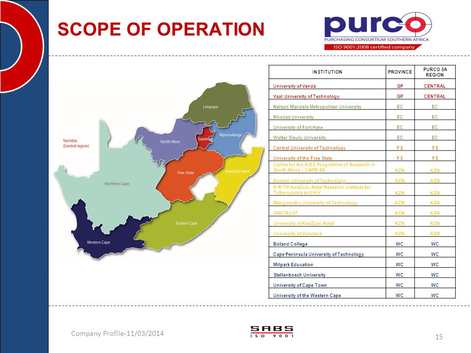 Company Profile-11/03/2014 15 SCOPE OF OPERATION INSTITUTIONPROVINCE PURCO SA REGION University of VendaGPCENTRAL Vaal University of TechnologyGPCENTR
