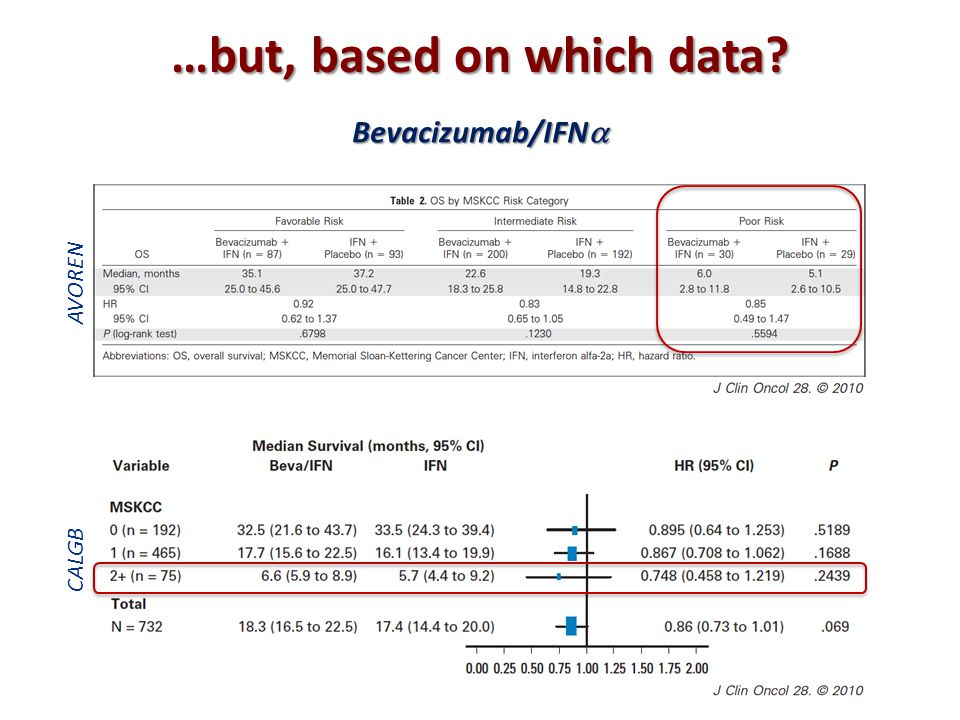 …but, based on which data? Bevacizumab/IFN  AVOREN CALGB