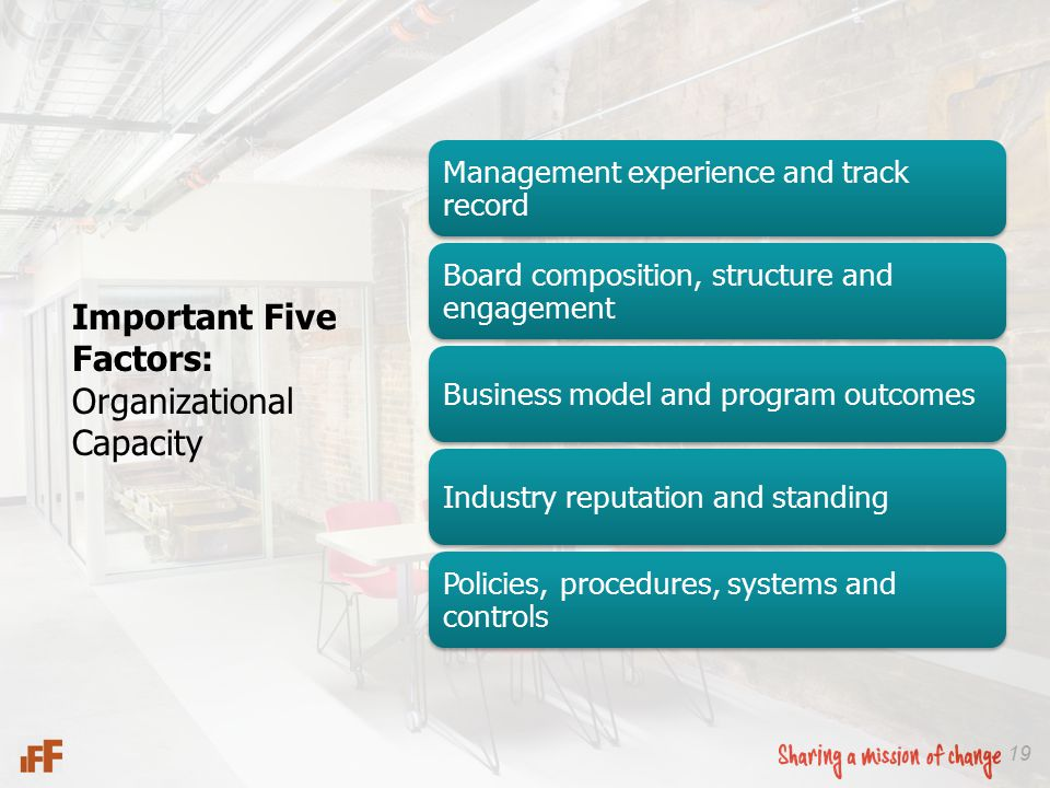 19 Important Five Factors: Organizational Capacity Management experience and track record Board composition, structure and engagement Business model a