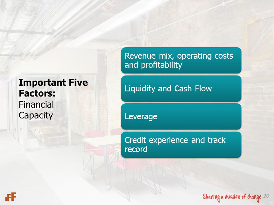 20 Important Five Factors: Financial Capacity Revenue mix, operating costs and profitability Liquidity and Cash FlowLeverage Credit experience and track record