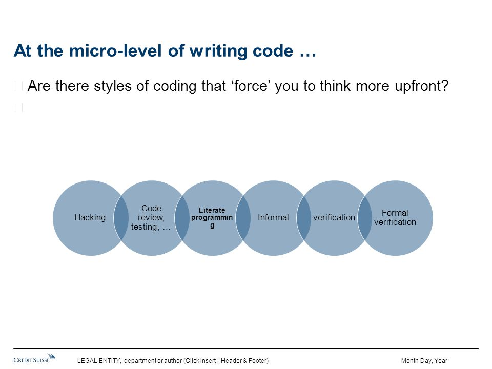 At the micro-level of writing code … Are there styles of coding that 'force' you to think more upfront.