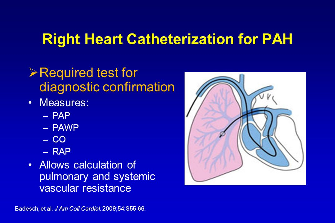 Right Heart Catheterization for PAH  Required test for diagnostic confirmation Measures: –PAP –PAWP –CO –RAP Allows calculation of pulmonary and systemic vascular resistance Badesch, et al.