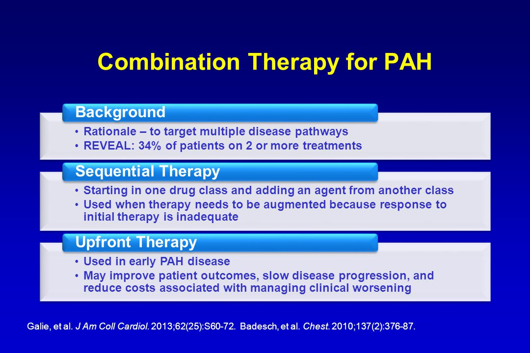 Combination Therapy for PAH Rationale – to target multiple disease pathways REVEAL: 34% of patients on 2 or more treatments Background Starting in one drug class and adding an agent from another class Used when therapy needs to be augmented because response to initial therapy is inadequate Sequential Therapy Used in early PAH disease May improve patient outcomes, slow disease progression, and reduce costs associated with managing clinical worsening Upfront Therapy Galie, et al.
