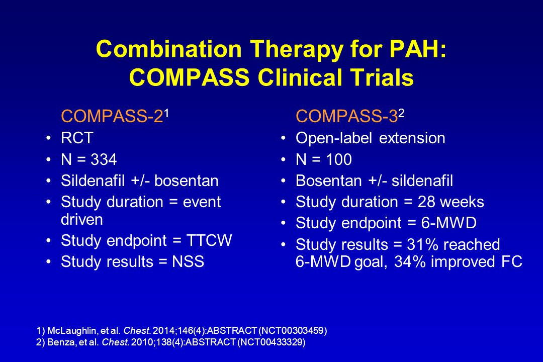 Combination Therapy for PAH: COMPASS Clinical Trials COMPASS-2 1 RCT N = 334 Sildenafil +/- bosentan Study duration = event driven Study endpoint = TTCW Study results = NSS COMPASS-3 2 Open-label extension N = 100 Bosentan +/- sildenafil Study duration = 28 weeks Study endpoint = 6-MWD Study results = 31% reached 6-MWD goal, 34% improved FC 1) McLaughlin, et al.