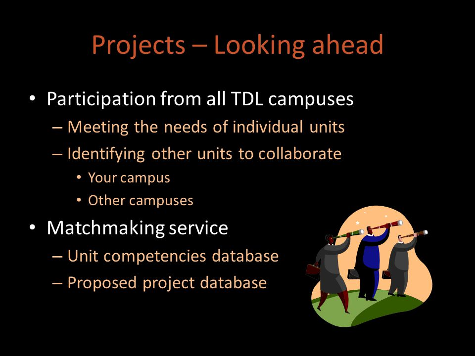 Projects – Looking ahead Participation from all TDL campuses – Meeting the needs of individual units – Identifying other units to collaborate Your campus Other campuses Matchmaking service – Unit competencies database – Proposed project database